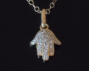 Diamond Hamsa Hand Necklace in 14kt Gold by Luluka