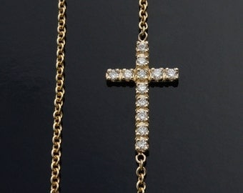 Diamond Sideways Cross Necklace - Seen on Celebrities - set off center
