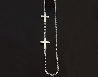 Double Sideways Cross Necklace in Sterling Silver