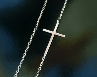 Kelly Ripa Sideways Cross - Longer Cross in Sterling Silver or 14kt Gold Filled