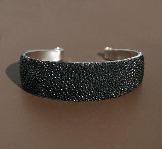 Black Stingray Cuff Bracelet