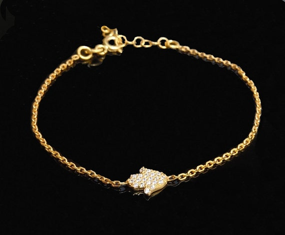 Mini Sideways Hamsa Hand Bracelet - 18kt Gold or Sterling Silver or Rose Gold