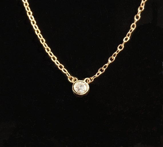 Solitaire Diamond Necklace in 14kt Gold - White Gold, Yellow Gold or Rose Gold
