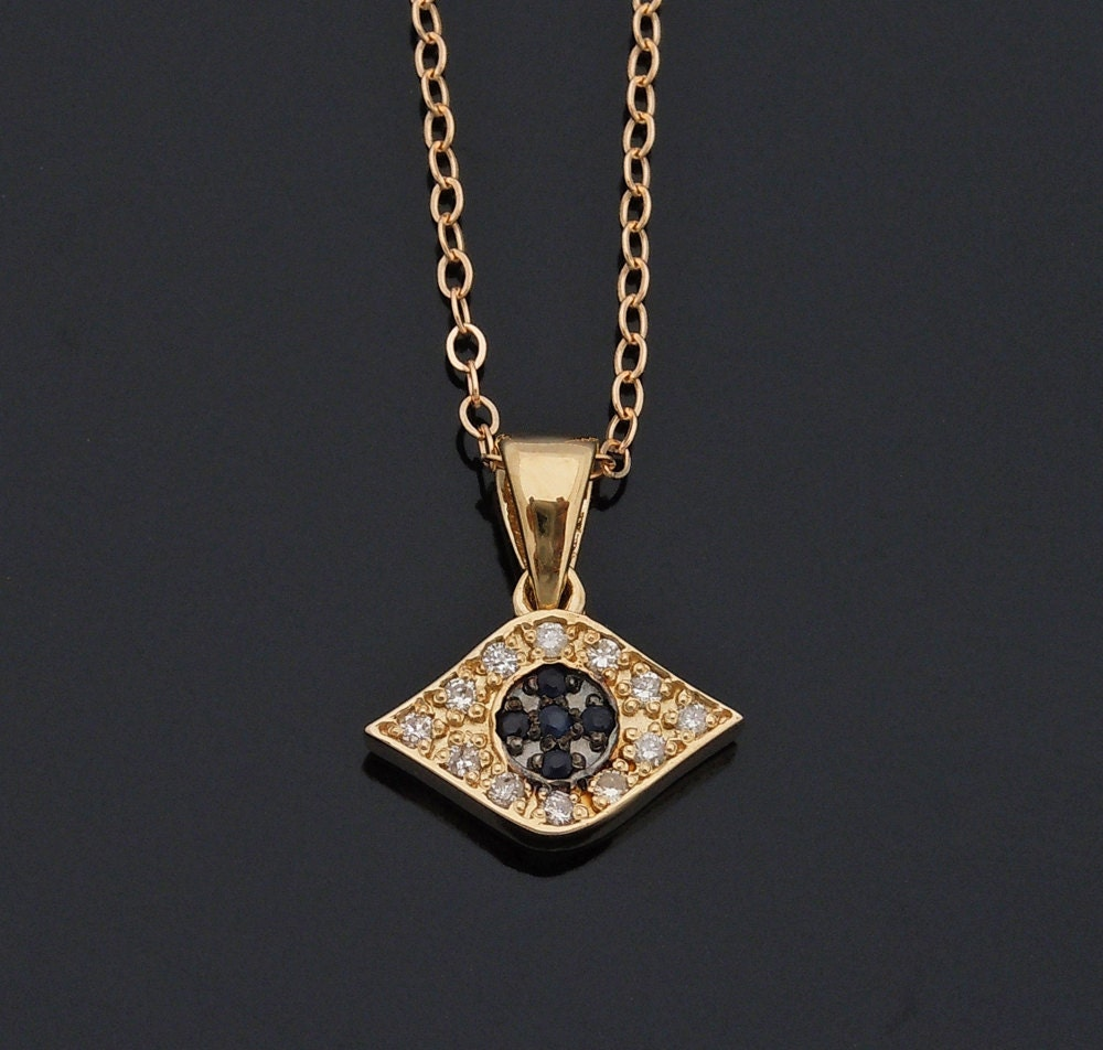 diamond evil eye necklace 14kt yellow gold and sapphires. Black Bedroom Furniture Sets. Home Design Ideas