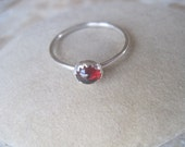 Garnet Cabochon and Sterling Silver Ring