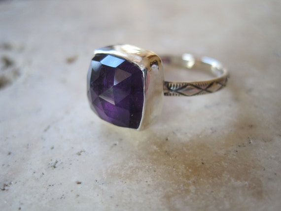 Reserved for Sam     Faceted Square Amethyst and Sterling Silver Ring