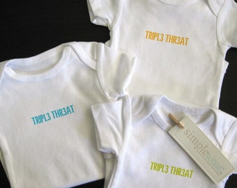 triple threat baby bodysuit for triplets