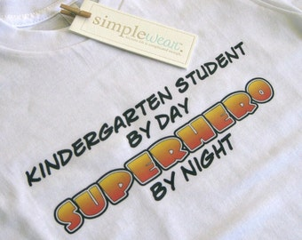 kindergarten student superhero t-shirt