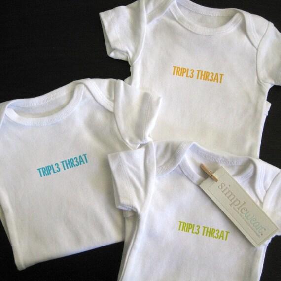 triple threat baby onesie for triplets