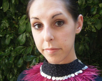CLEARANCE  Mauve and Black Hand Beaded Ostrich feather choker