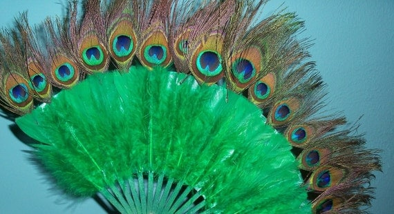 CLEARANCE  50% off Miss Peacock Fan burlesque pinup home decor