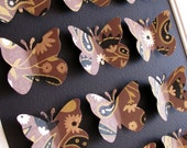 INVENTORY CLEARANCE Gold Swirls, Black and Brown on Black - Handmade Cotton Paper - 3D Butterfly Art - 8x10