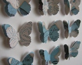 Robins' Egg Blue Shabby Lace Layered 3D Butterfly Art - 8x8 inches - MADE to ORDER - aboundingtreasures