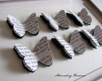 Jane Austen Recycled 5x7 Inch 3D Butterfly Art. Pride & Prejudice. Emma. Persuasion. Sense and Sensibility. Made to Order