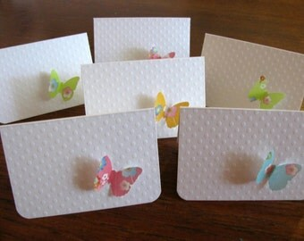 Chiyogami Pink, Blue, Orange, Green on White Swiss Dot - Set of 6 Butterfly Mini Cards - Made to Order
