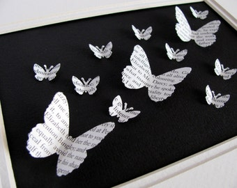 Jane Austen Recycled 3D Butterfly Art. Pride and Prejudice, Emma, Persuasion or Sense and Sensibility. 5x7. Made to Order