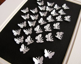Upcycled Jane Austen 3D Mini Butterflies on Black. Pride & Prejudice, Emma, Persuasion or Sense and Sensibility. 5X7 inches. Made to Order