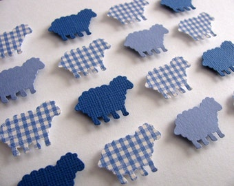 SAMPLE Little Lambs 3D Whimsy Collage / Baa, Baa Blue Sheep or YOUR Colour Choices / 5x7 inches / Made to Order