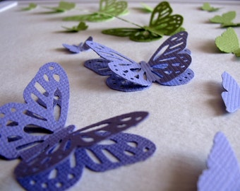 Purple and Green Shades 3D Layered Butterfly Art Shown is Ready to Ship or Made to Order in YOUR Choice of Colours. 8x8