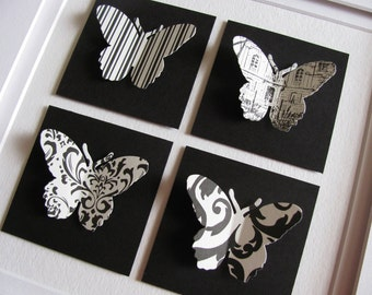 Black and Ivory 3D Patterned Butterfly Art or Your Custom Colour Choices. Paper Butterfly Art. 8x8 inches. Made to Order