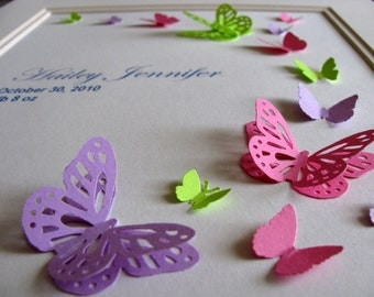 Custom 3D Butterfy Arc / Birth Keepsake / Wedding / Anniversary / Infant Loss Memorial / YOU Choose 3 Colours / 8x10 inches / Made to Order