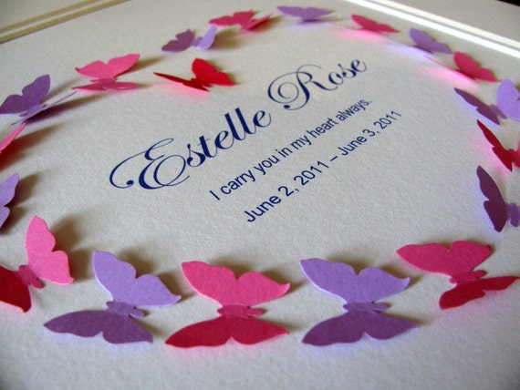 Custom Personalized Memorial 3D Heart of Butterflies in Pink, Blue, Yellow or Custom Mix with BLACK LETTERS.  8x10. Made to Order