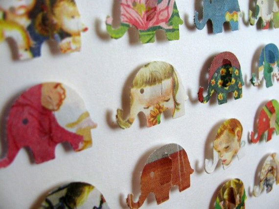 Eloise Wilkins Recycled Rare Vintage - 3D Baby Elephant Whimsy Collage - 5X7