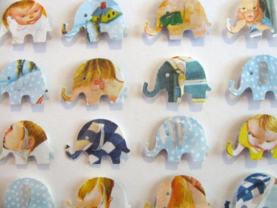 Eloise Wilkins Shades of Blue Recycled Rare Vintage - Baby Elephant Whimsy Collage - 5X7