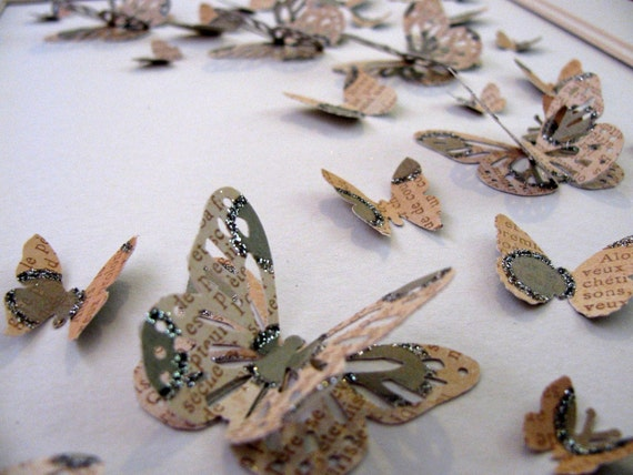 INVENTORY CLEARANCE. Sparkly French Script - 3D Butterfly Art - Moss Green, Taupe and Ivory - 8X10 inches