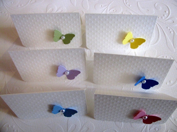 Rainbow Pastels on White Swiss Dot - SET of 6 Butterfly Mini Cards - Made to Order
