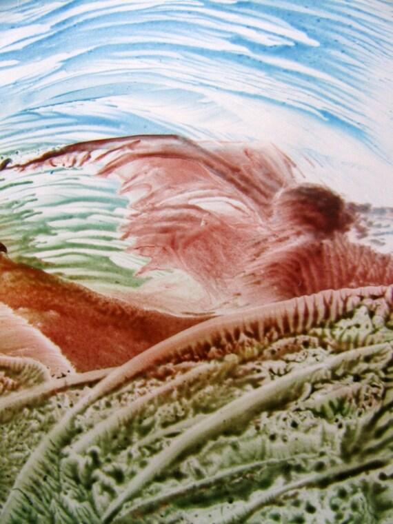 ACEO Melted Wax Crayon Original Art - Watching the Horizon