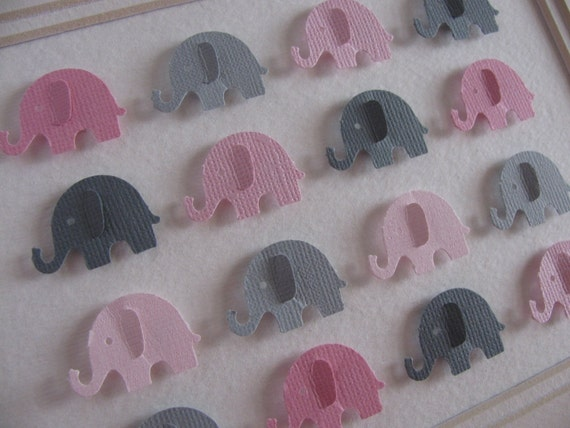 SAMPLE Pink and Gray Shades Baby Elephants 3D Whimsy Collage or YOUR Choice of Colours. Baby Shower, Nursery Decor. 5x7. Made to Order