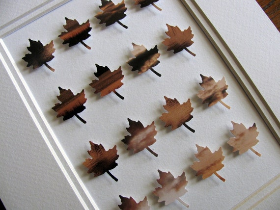 Upcycled Canadian Sunset 3D Maple Leaf Collage. Autumn. Harvest. Sunset. Decor. 5x7. Ready to Ship