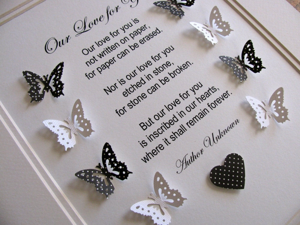 Our Love For You 3D Memorial Butterfly Word Art. You Choose