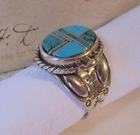 RESERVED FOR RUGBUG7 Vintage Large Sterling Silver Turquoise Inlaid Ring Size 8