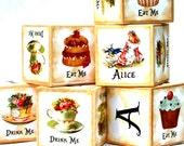 Alice in Wonderland Wooden Baby Blocks birthday party girls nursery decor wood toy blocks