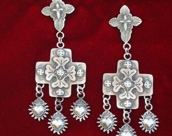 E101 Double Cross with Sacred Heart Dangles Sterling silver Earrings