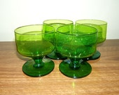Vintage Cocktail glasses - Set of 4 green vintage glasses