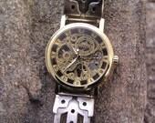 Mechanical Skeleton Hand Wind Gold Tone Watch