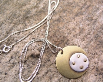 Sterling Silver And Brass Pendant Necklace with Rivets