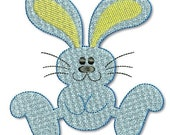 Hopping BUNNY - Filled 4x4  5x7 Machine Embroidery Design  INSTANT Download