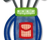 GOLF BAG Applique 4x4 5x7 6x10 Machine Embroidery Design girl boy  INSTANT Download