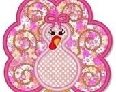 Swirly Girly TURKEY Applique 4x4 5x7 6x10 Machine Embroidery Design THANKSGIVING  INSTANT Download