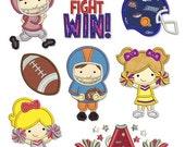TEAM Spirit Applique SET 4x4 5x7 6x10 Machine Embroidery Design football cheerleader helmet player pom  INSTANT Download