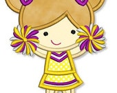 Little CHEERLEADER 1 Applique 4x4 5x7 6x10 Machine Embroidery Design football pom game  INSTANT Download