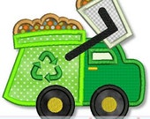 GARBAGE TRUCK Applique 4x4 5x7 6x10 7x11  Machine Embroidery Design boy  INSTANT Download