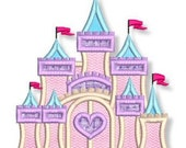 FANCY CASTLE Applique  4x4 5x7 6x10 7x11  Machine Embroidery Design girly princess  INSTANT Download