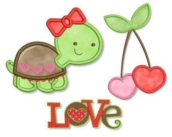 Sweet Applique SET Machine Embroidery TURTLE Love Valentine  INSTANT Download