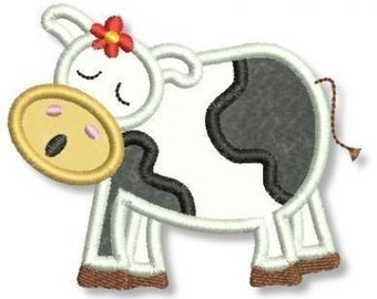 Moo-ing Moo COW Applique 4x4 5x7 Machine Embroidery Design  INSTANT Download