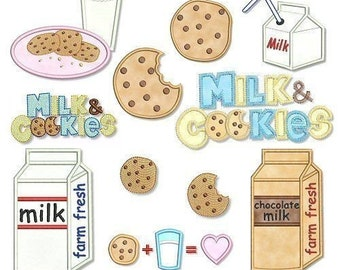 MILK and COOKIES Applique Set 4x4 5x7  Machine Embroidery Design  INSTANT Download